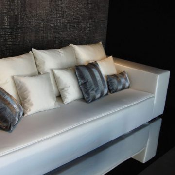 LIQUID 'TAKI PLEAT' pillows and LUMINOSO upholstery programmed by ARMANI CASE sofa_preview