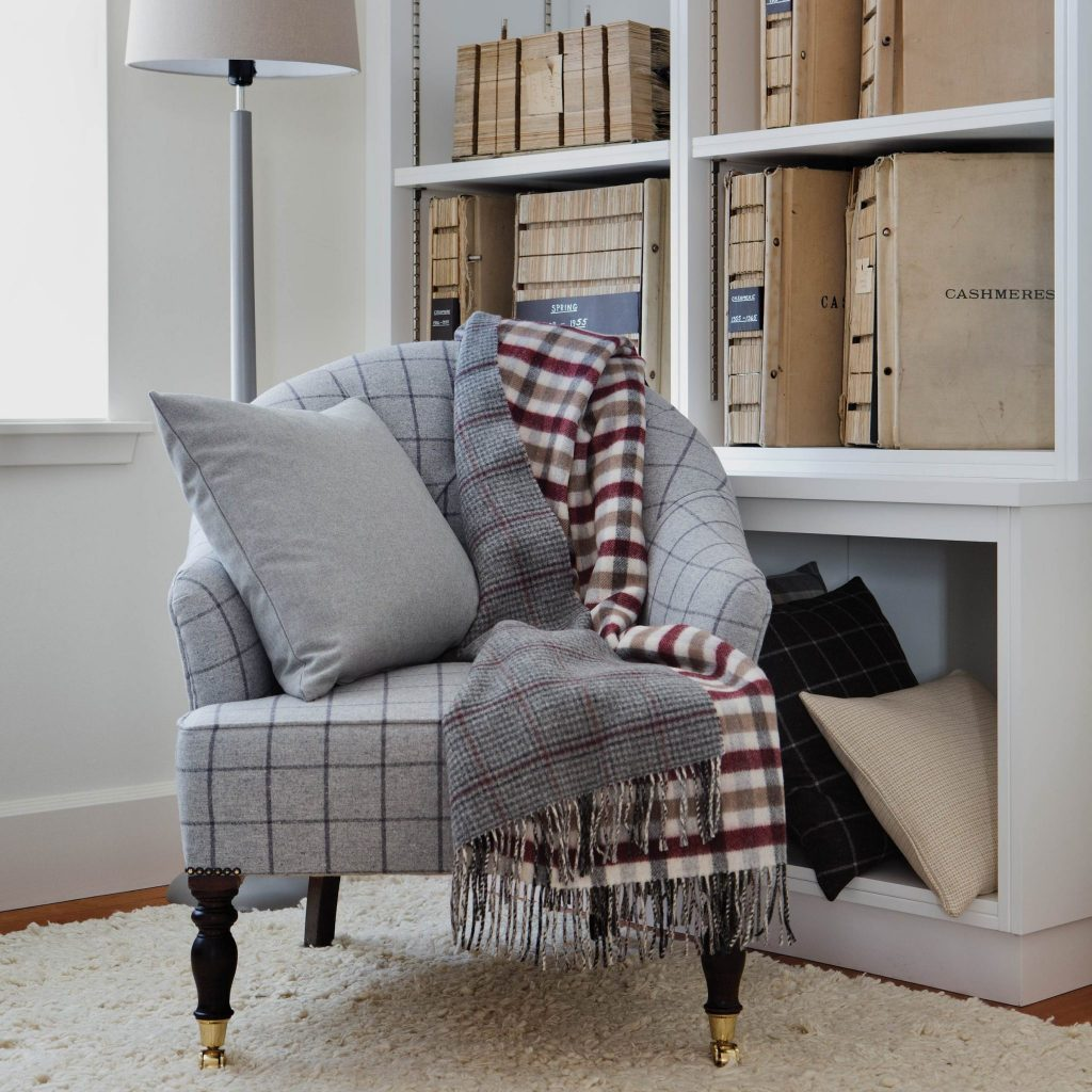 Grey Check Throw on Window Pane Chair