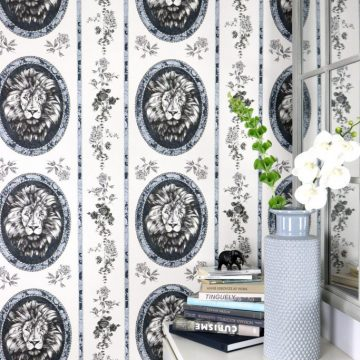 Lion Toile Wallpaper Pebble