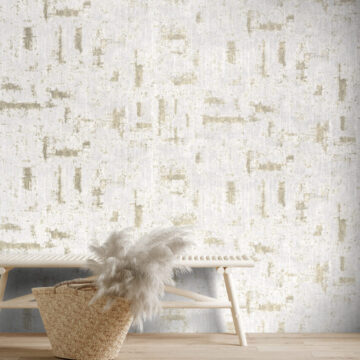 Blank wall in interior with wooden bench and pampas grass in wicker handbag