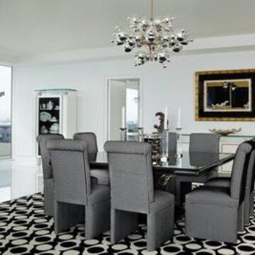 BUBBLES SILVER chandelier - contemporary modern dining room -Miami Beach-John Barman inc